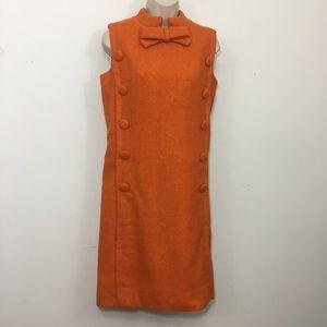 Vintage tweed mod sheath mini dress orange small